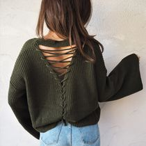 【即発】Flare-sleeve Back Point Knit《KHAKI》