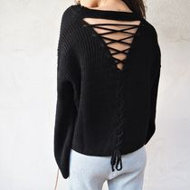 【即発】Flare-sleeve Back Point Knit《BLACK》