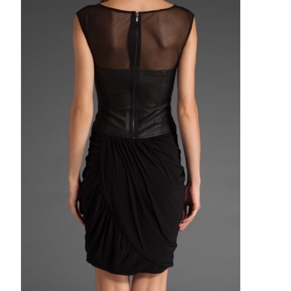 ★BCBG MAXAZRIA★ Leather Mesh Draped ドレス