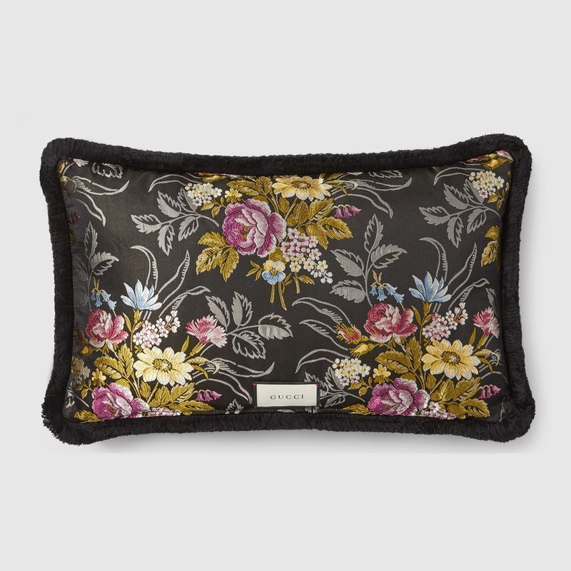 【GUCCI(グッチ)】 Velvet cushion with Kingsnake embroidery