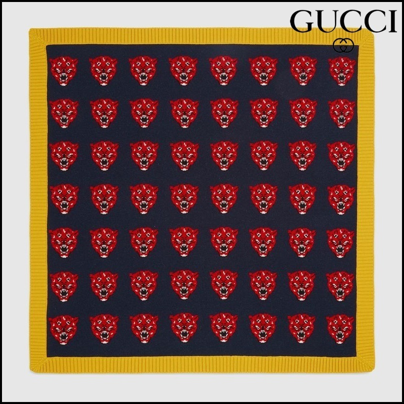 【GUCCI(グッチ)】 Tiger jacquard wool knit baby blanket