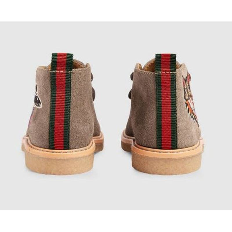 【GUCCI(グッチ)】 Toddler suede boot with embroideries