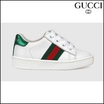 【GUCCI(グッチ)】 Toddler leather low-top with Web