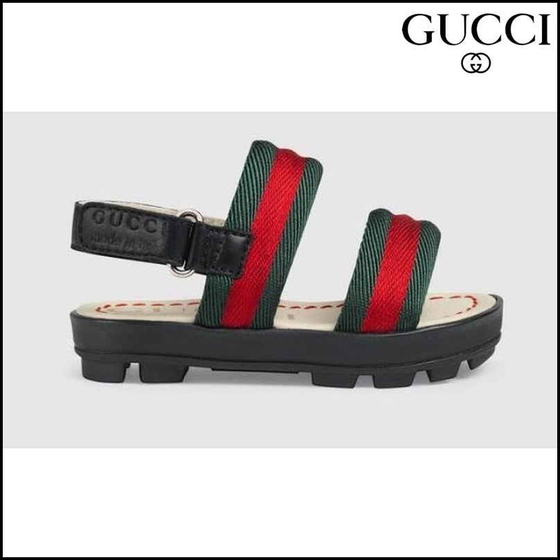 【GUCCI(グッチ)】 Toddler leather and Web sandal