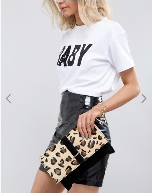 Urbancode Leopard Print Pony Hair Clutch Bag