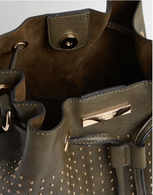 Dune Stacey Studded Khaki Shoulder Bucket Bag