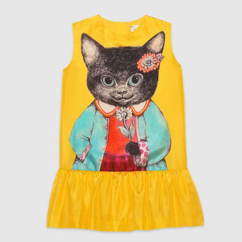 【GUCCI(グッチ)】 Children's silk dress with kitten print
