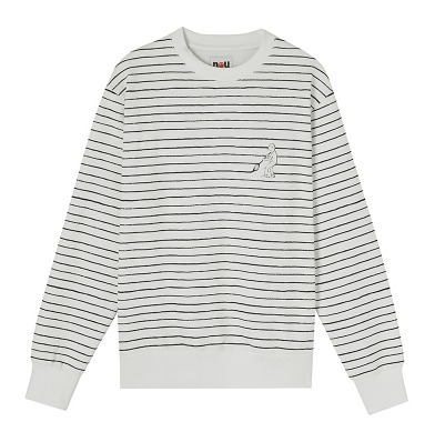 STEREO VINYLS Painting Stripe Fleece Sweatshirts 白 男女兼用