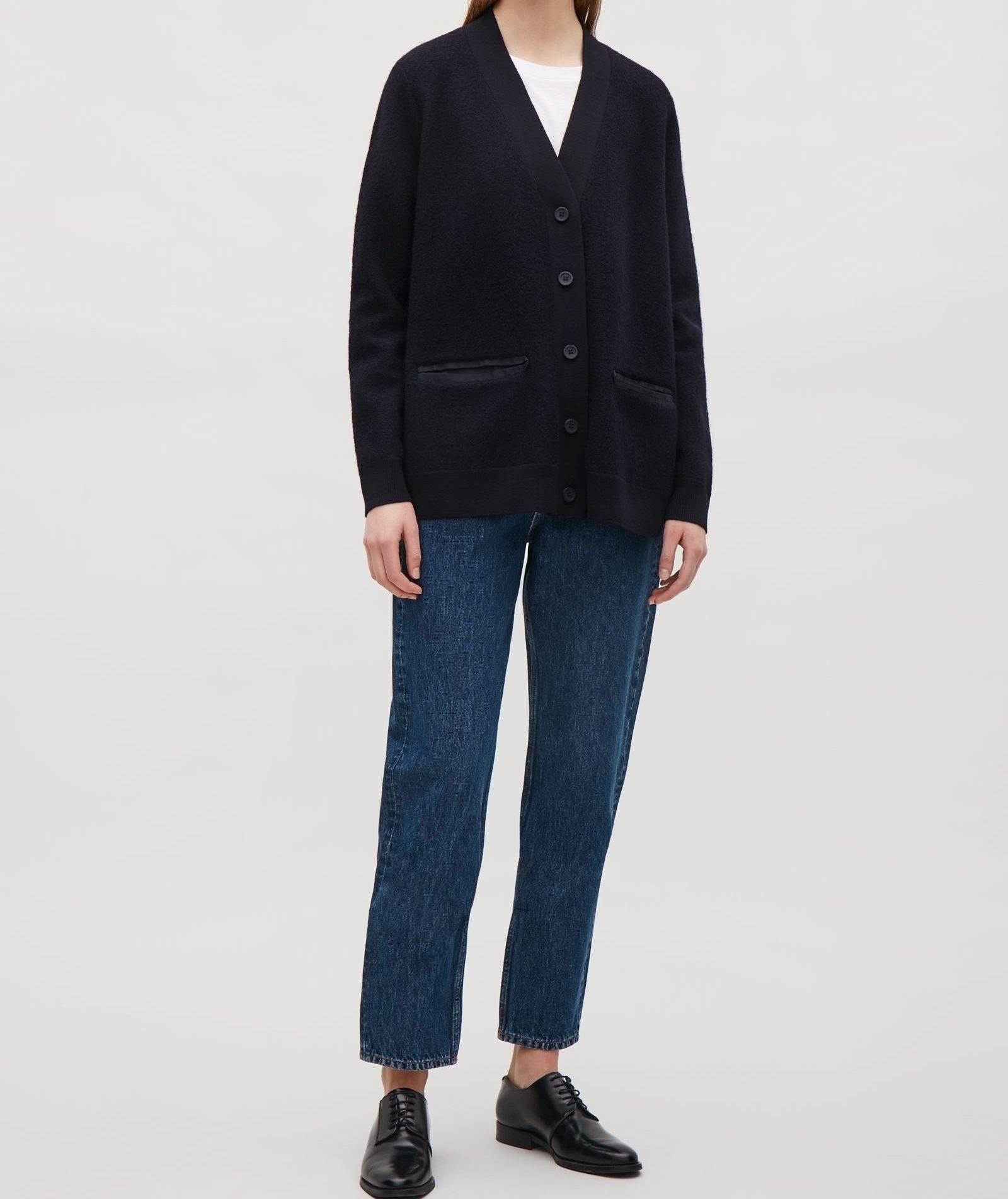 """""""COS""""KNIT-WOVEN CARDIGAN NAVY"""