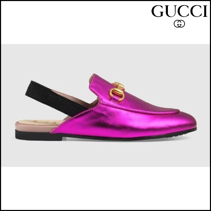 【GUCCI(グッチ)】 Childrens Princetown metallic leather