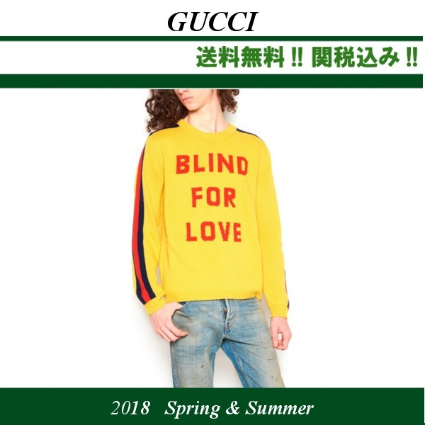 18SS関税込★GUCCI(グッチ)'blind for love' セーター,yellow