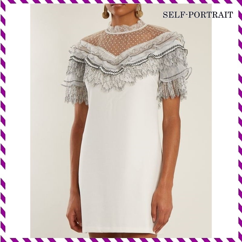 SELF-PORTRAIT*Lace-trimmed short-sleeve dress*関税込み