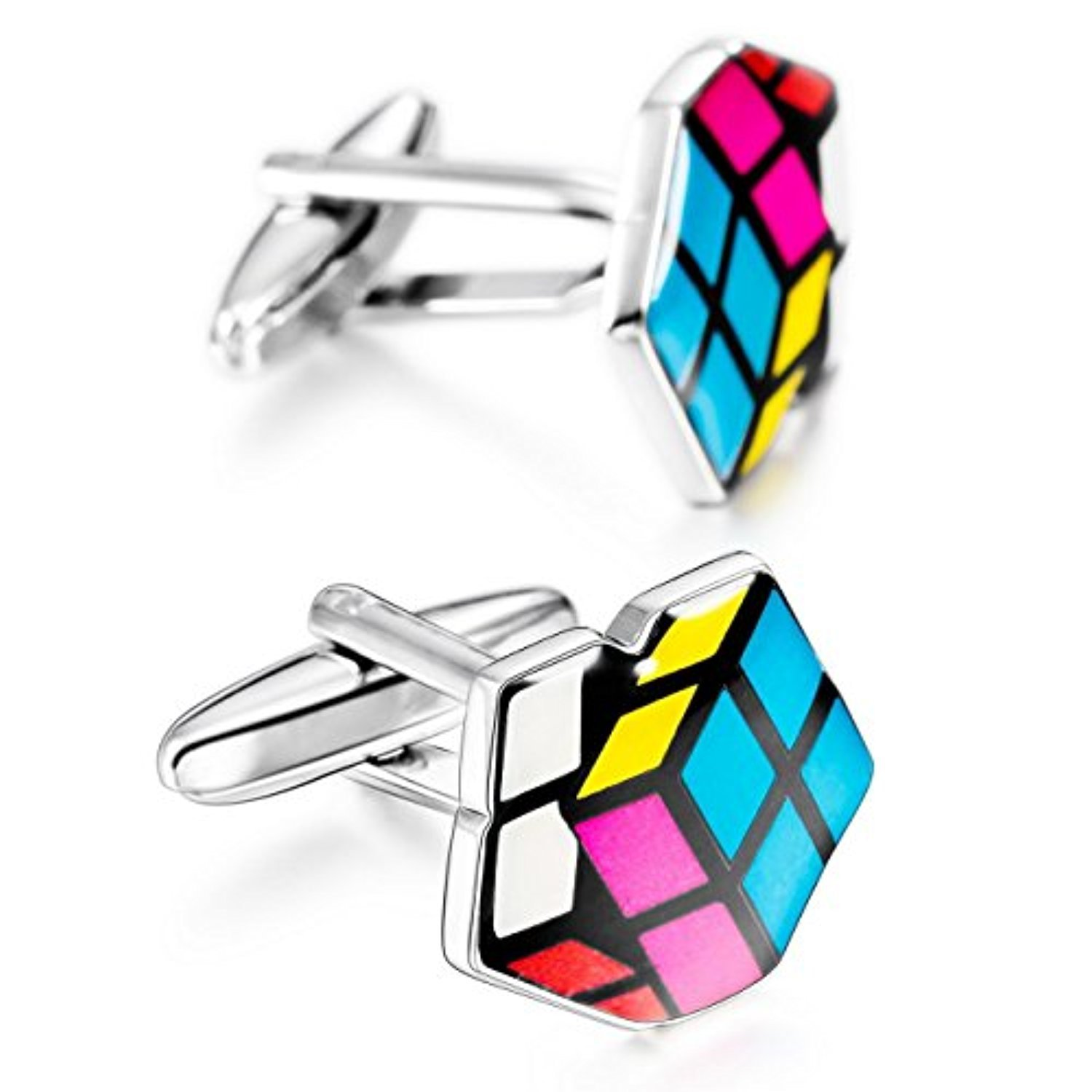 ○送料込○MOWOM 2PCS Rhodium Plated Cufflinks Shirt Wedding