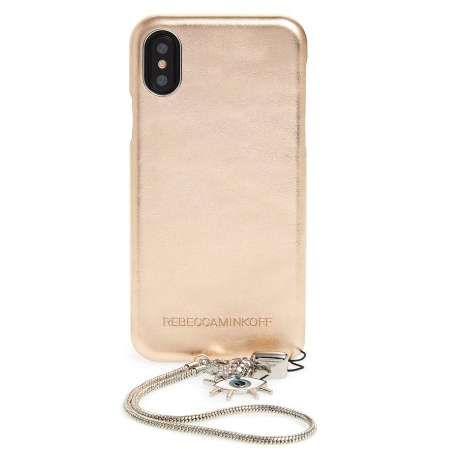 Metallic Leather iPhone X Wristlet Case with Charms