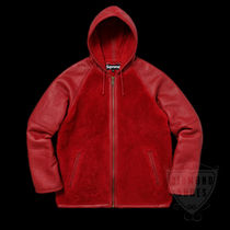 FW17 SUPREME REVERSED SHEARLING HOODED JACKET RED 送料無料