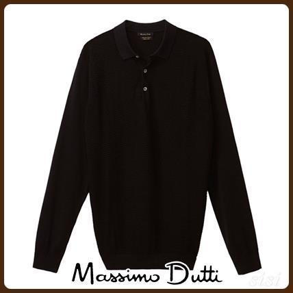 MassimoDutti♪POLO-STYLE SWEATER WITH ZIGZAG TEXTURED WEAVE