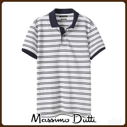 MassimoDutti♪STRIPED POLO SHIRT WITH CONTRASTING DETAIL