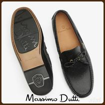 MassimoDutti♪BLACK LEATHER EMBOSSED LOAFERS