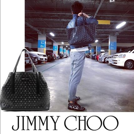 JIMMY CHOO PIMLICO Grainy Leather Tote Bag With Star Emboss