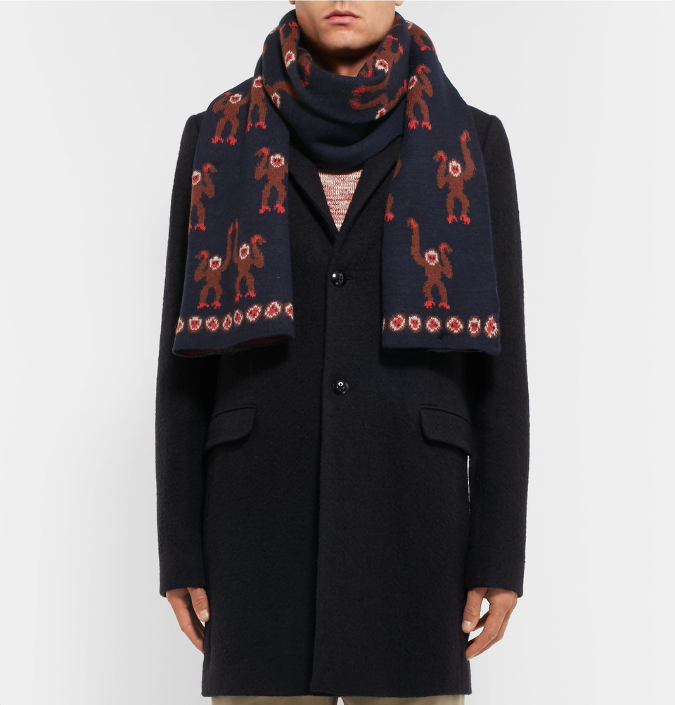 【VIPセール】Paul Smith★Monkey Jacquard Wool スカーフ Navy
