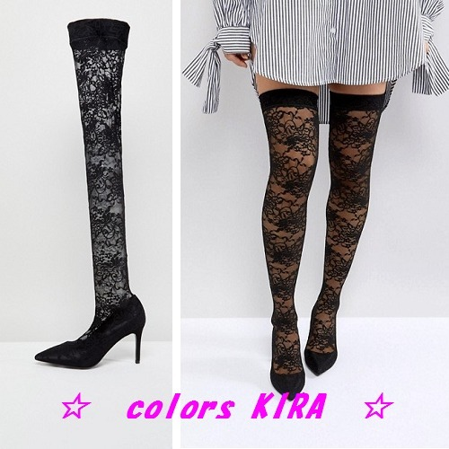 ASOS KACEY Lace Over The Knee Boots♪
