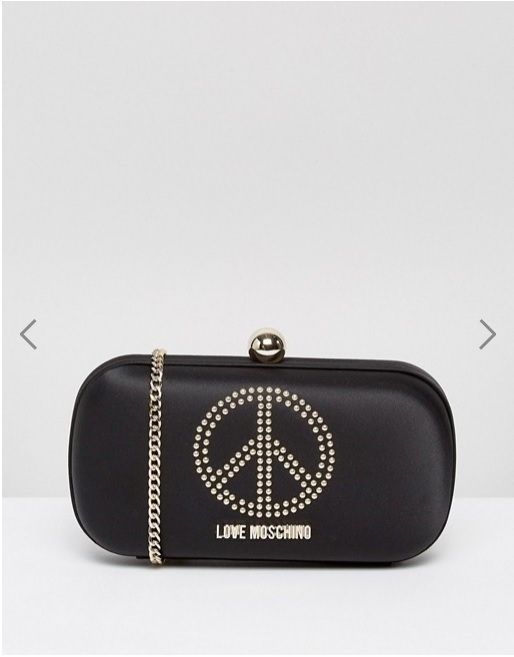 Love Moschino Satin Clutch Bag With Embellishment