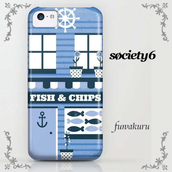 【Society6】iPhone8ケース Fish & Chips  8plus/Xに変更可☆