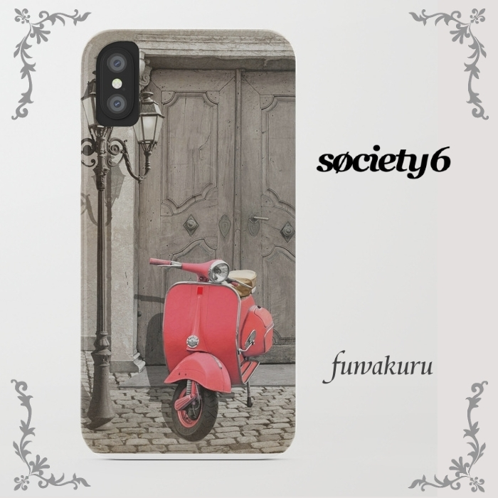 【Society6】iPhone8ケース pink scooter8plus/Xに変更可☆