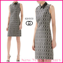 GUCCI★グッチ★素敵!Octagonal Pattern Leather Collar Dress