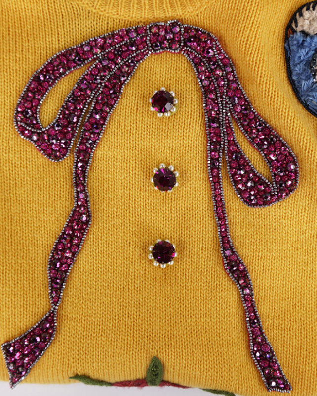 GUCCI★グッチ★素敵!Yellow Wool embroidered knit top