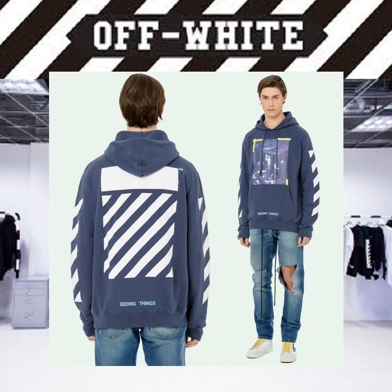 【17AW NEW】 Off-White_men /DIAG/CARAVAGGIOプリントパーカー