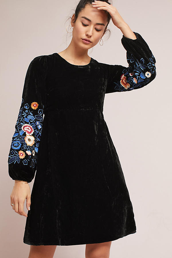 18SS☆最安値*関送込【Anthro】Michie Embroidered Velvet Dress