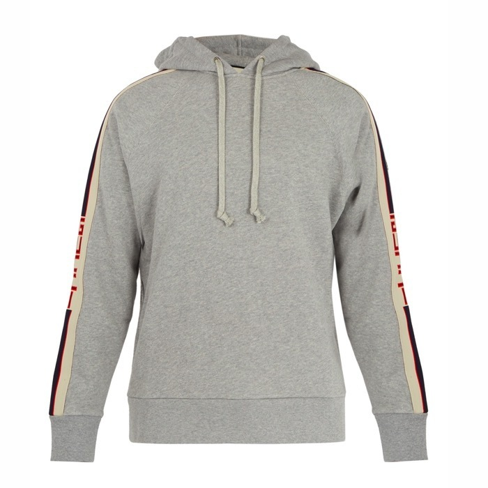GUCCI  Logo-jacquard hooded cotton sweatshirt