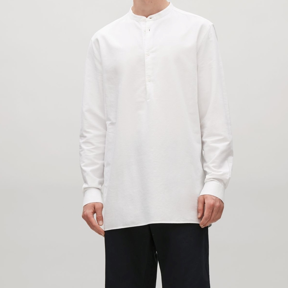"""COS MEN""GRANDAD COLLAR OXFORD SHIRT WHITE"
