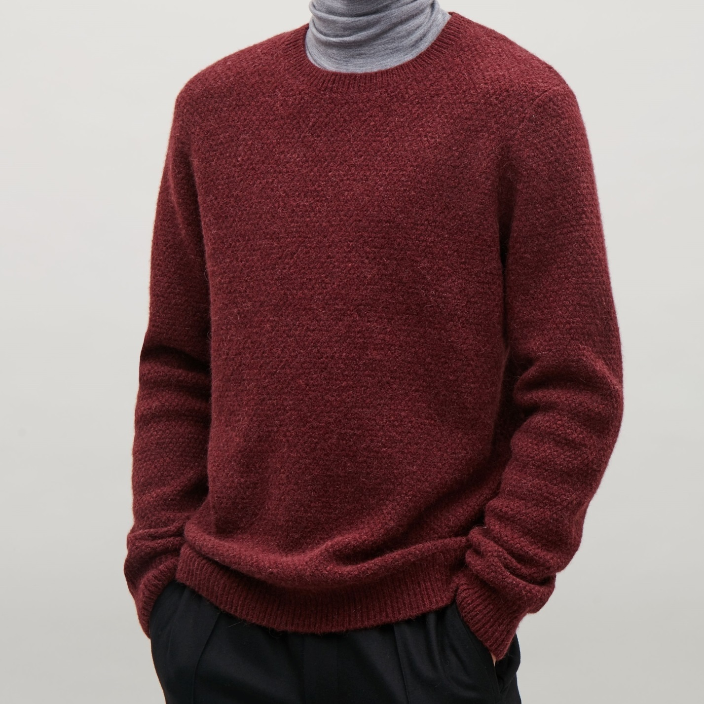 """COS MEN""STRUCTURED KNIT JUMPER GRAY"