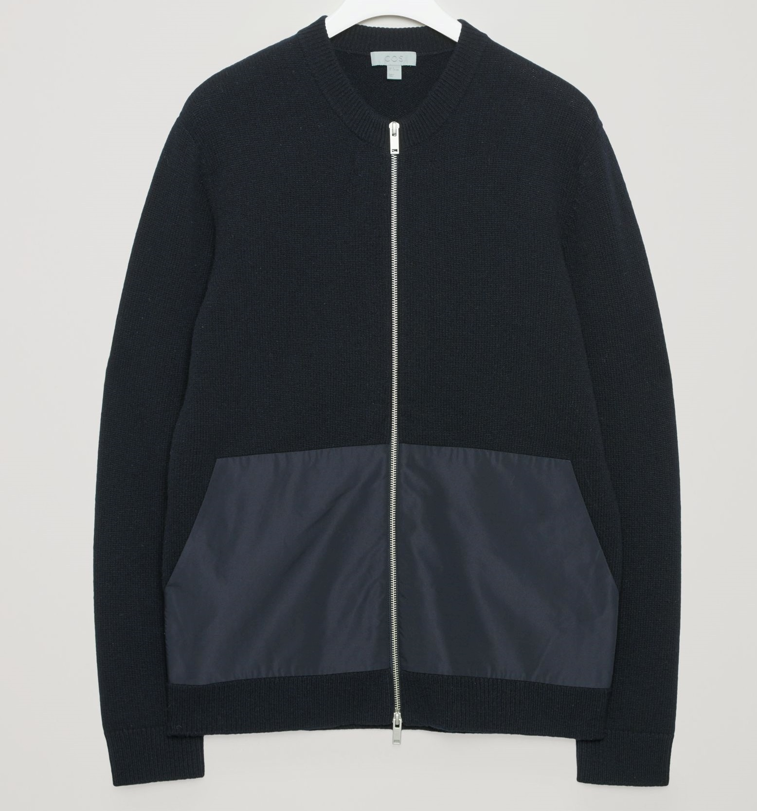 """""""COS MEN""""LAMBSWOOL CARDIGAN WITH WOVEN POCKETS NAVY"""