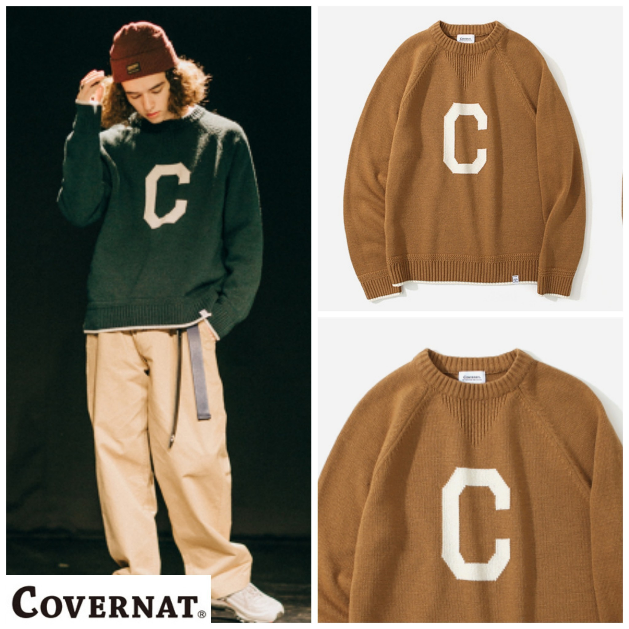 有名人多数着用★COVERNAT★KNIT C LOGO CREWNECK BROWN
