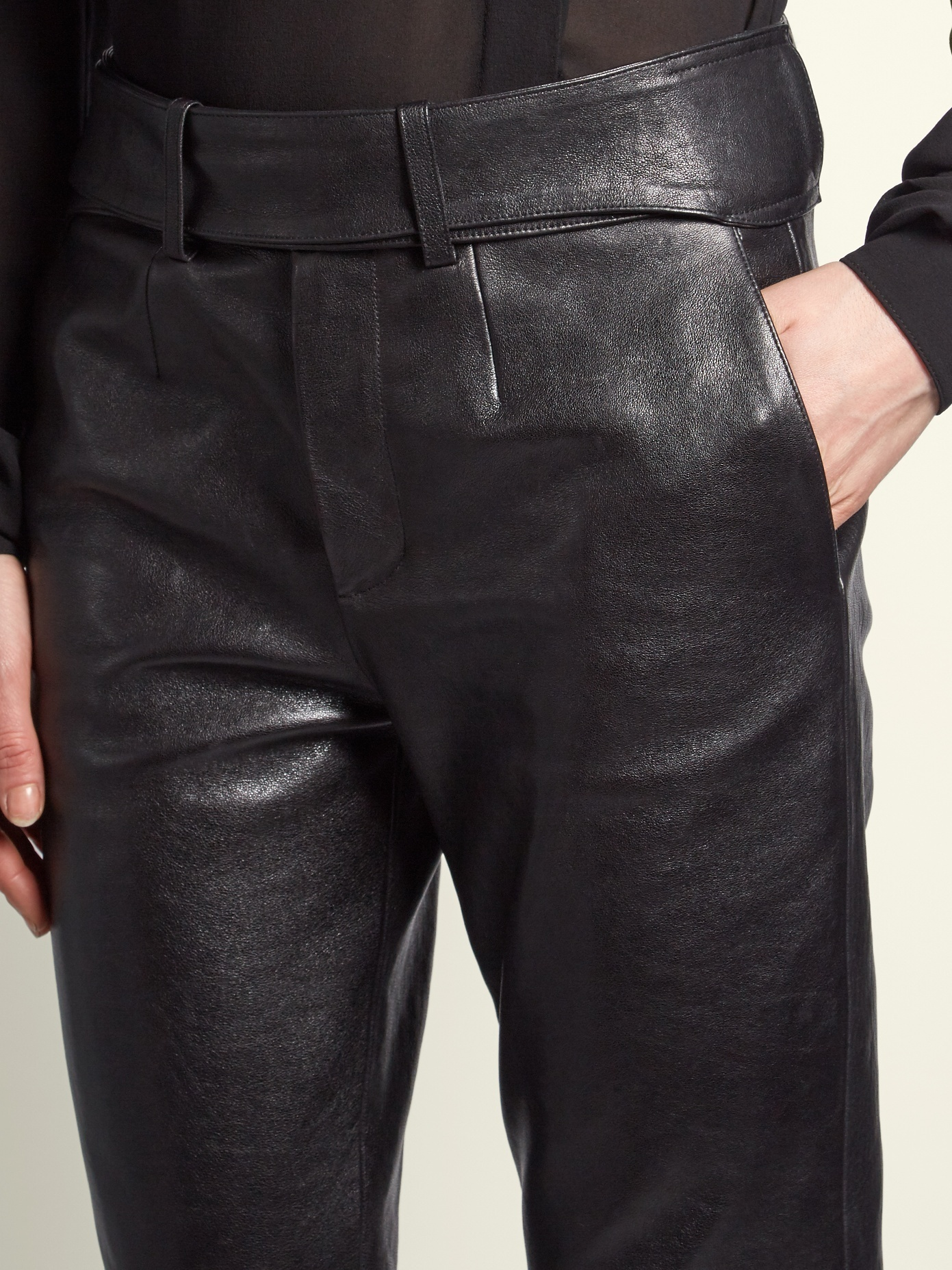 【18SS★RUNWAY】Saint Laurent/Smoking leather biker trousers