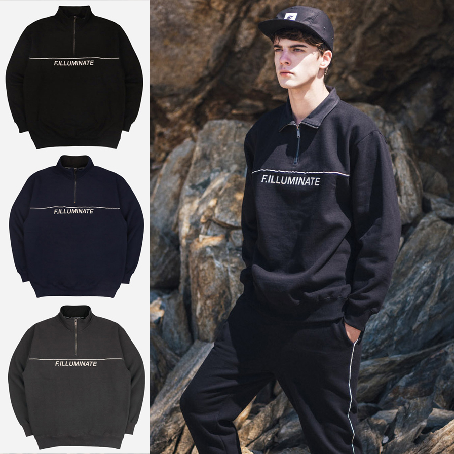 ★Filluminate★韓国 UNISEX Line Point Half Zip Up【全3色】
