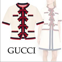 【GUCCI】Wool jacket with Web bows/wool/White