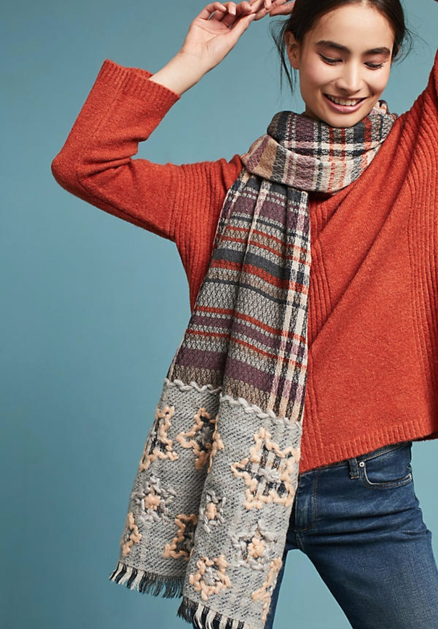 【Anthropologie】Embroidered Wool Scarf☆大判ストール☆送込