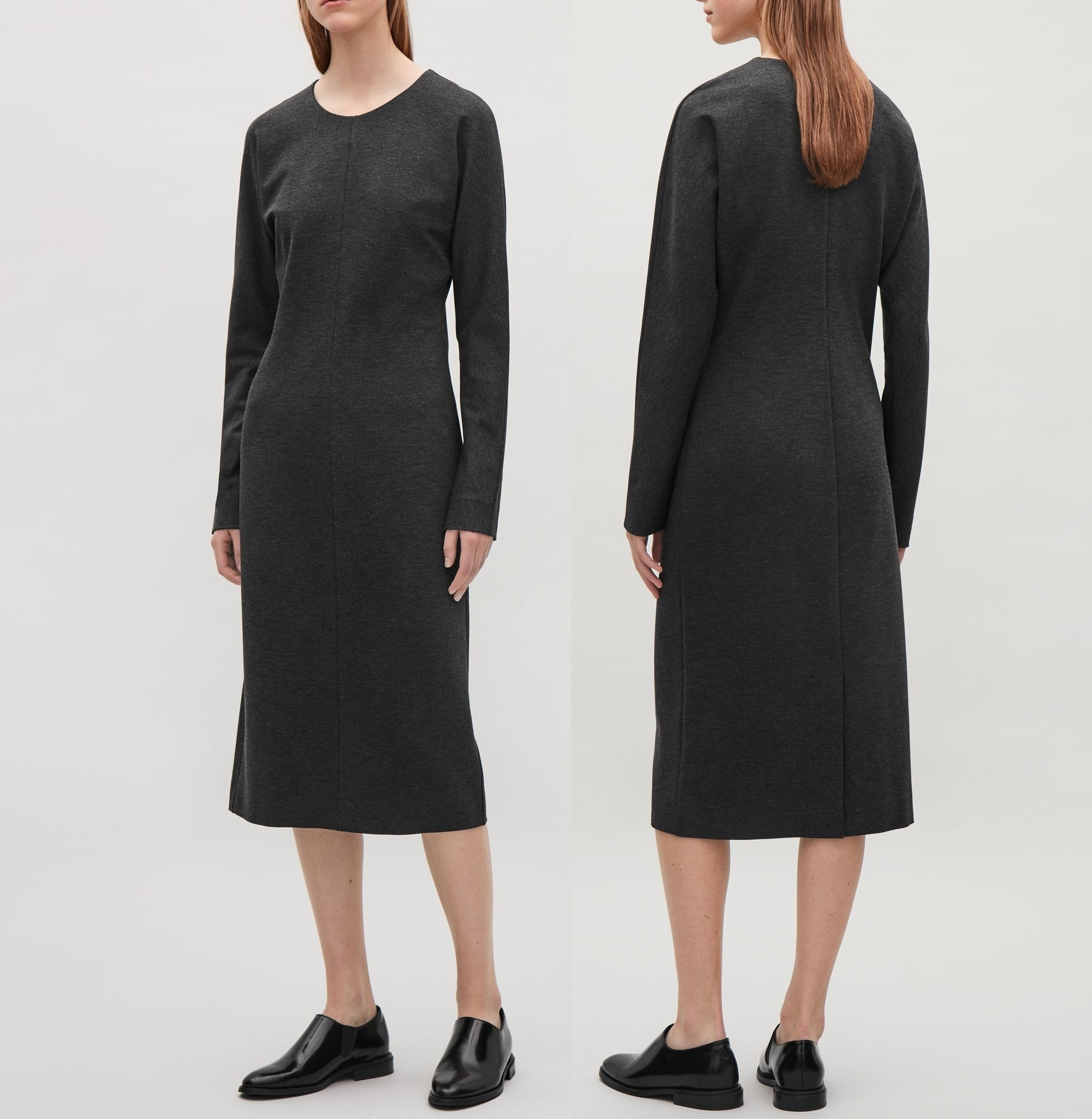 """COS""BATWING-SLEEVE DRESS DARKGRAY"