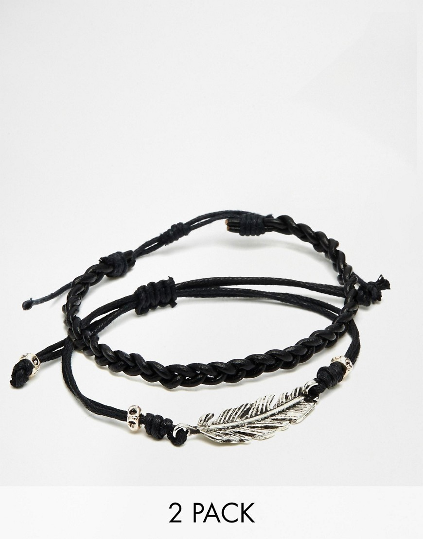 ○送料込○ ASOS Leather Bracelet Pack With Feather
