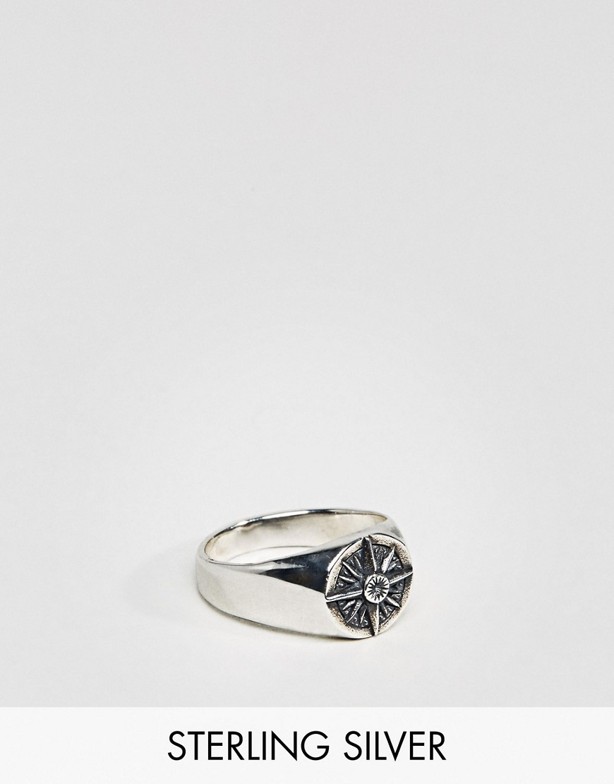 ○送料込○ ASOS Sterling Silver Ring With Compass Design