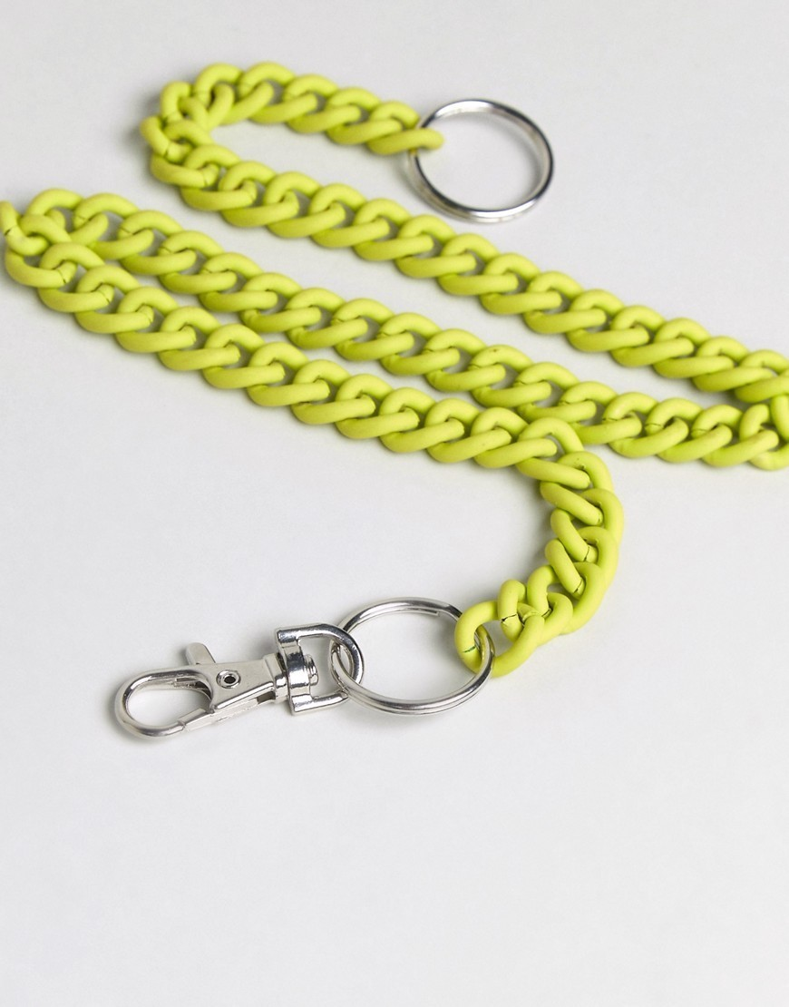 ○送料込○ ASOS Pocket Keychain In Fluro Yellow