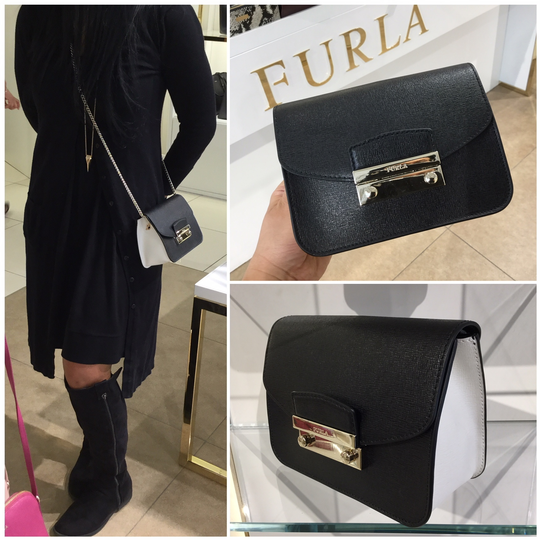 【FURLA】JULIA  Mini Crossbody☆可愛い☆黒×白