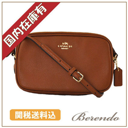国内発送◆COACH Pebbled Crossbody bag Clutch 2way saddle 茶