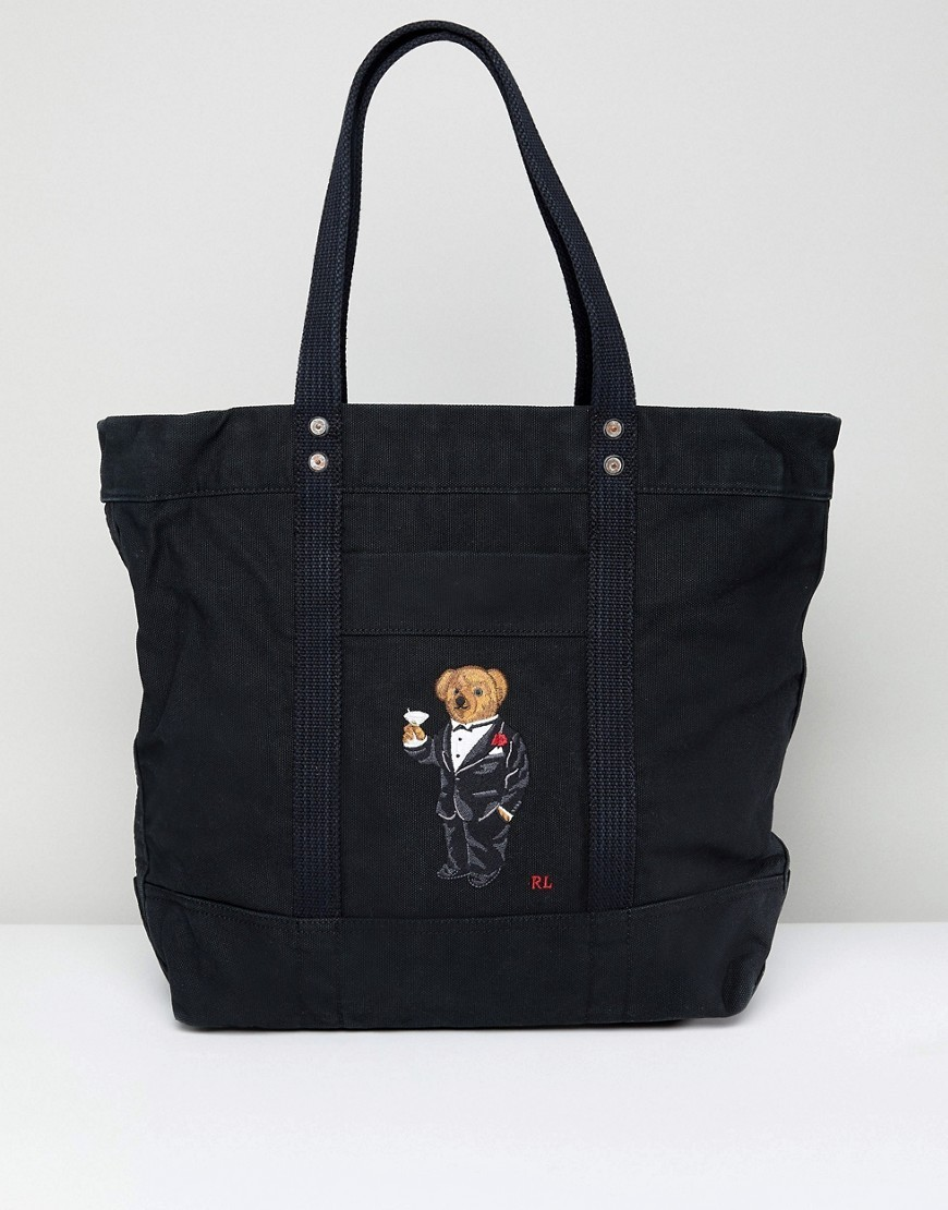 ○送料込○ Polo Ralph Lauren Bear Embroidery Canvas Tote