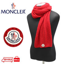【37】MONCLER 新品本物 SCIARPA レッド ウール混合 マフラー