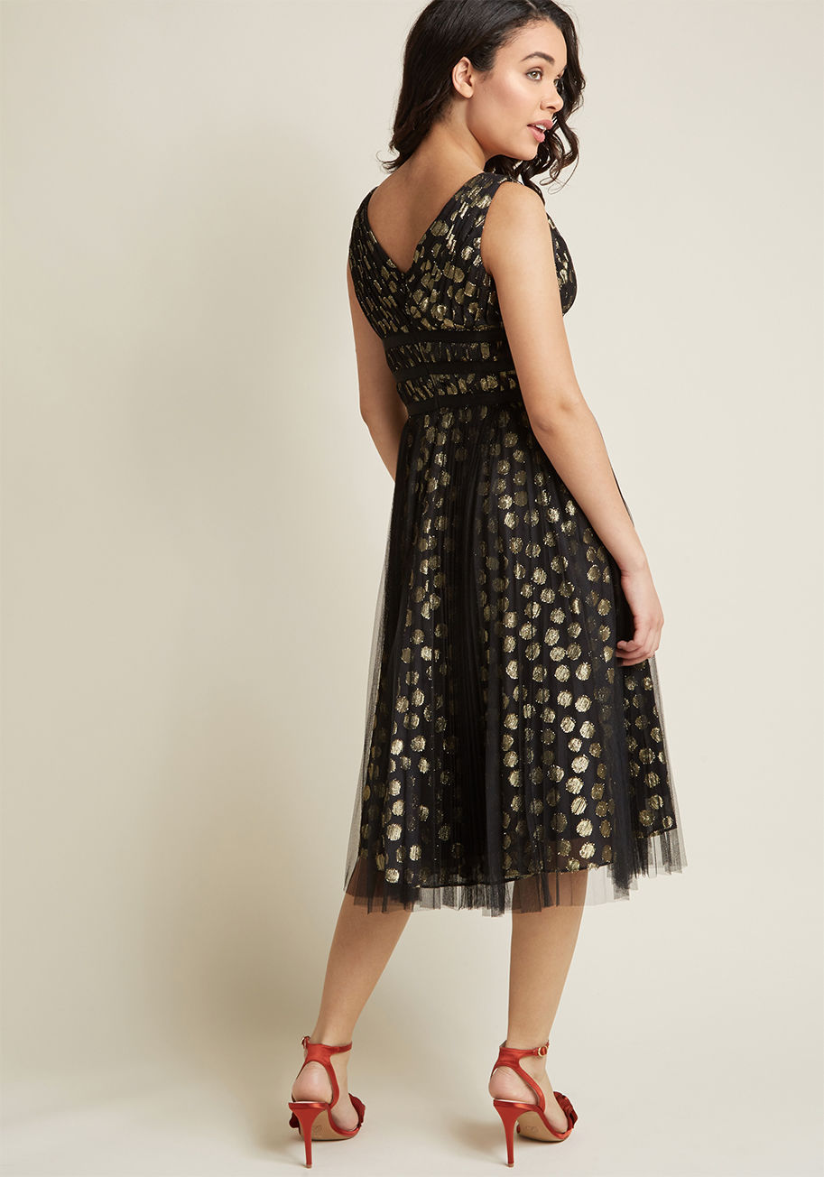 ◎送料込み◎  adrianna papell metallic dotted midi dress